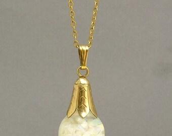 Vintage 1940s GF Floating Opal Pendant Necklace