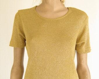 Vintage 80's Gold Metallic Lurex T Shirt.