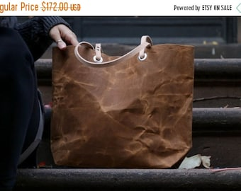Canvas Tote Bag, Waxed Canvas Tote, Medium Sized Tote Bag in Saddle Brown