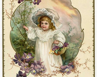 Antique Victorian Card, Original 1880's Card, Girl with Basket of Flowers, Bible Verse Card, Christian Verse, Victorian Child Print