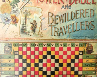 Antique Victorian McLoughlin Bros Game Board and Cover, Wall Posters c 1892, Original Tower of Babel & Bewidered Travellers Game Board