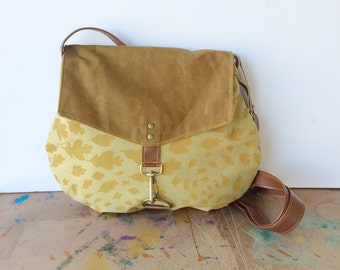 satchel • waxed canvas crossbody bag • hand printed mustard canvas -leaf print - - mustard yellow leaves - waxed canvas • native