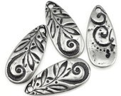 Dark Antique Silver Charms Silver Tear Drop TierraCast JARDIN TEARDROP Floral Nature Charm with Swirly Vine Motif Bohemian Charms (P1383)