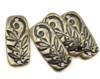 Floral Link TierraCast JARDIN BAR Brass Link Findings Antique Brass Charms Bohemian Charms for Jewelry Making Bronze Charms Leaf Vine P1372