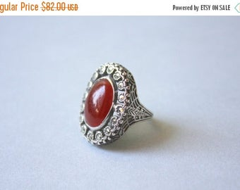 STOREWIDE SALE 1920s Sterling Ring / Vintage 1930s Carnelian Marcasite Silver Ring / 20s Art Deco Filigree Cocktail Ring