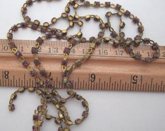 over 2 1/2 feet rhinestone chain w MCC machine cut crystal amethyst purple rhinestones in raw brass pronged settings