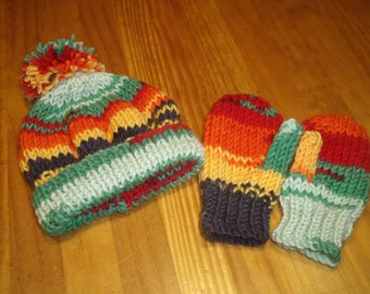 Baby hand knitted hat and mittens