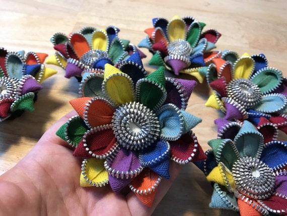 Rainbow Vintage Zipper Flower Brooch or Hair Clip