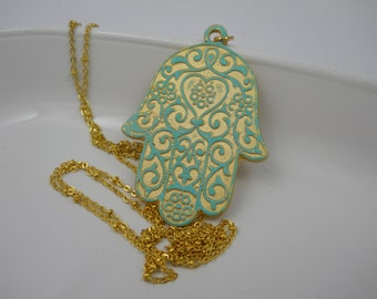 Hamsa Hand Necklace Large Gold Verdigris Reversalbe Talisman Charm on Gold Beaded Chain