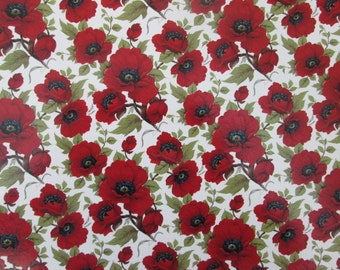 Red poppy permanent transfer waterslide decals, fused glass ceramics transfer, craft supplies, kiln craft, poppy flower decals, fusible