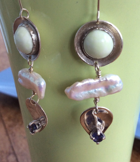 Sterling Silver Earrings with Jade, Stick Pearls and Iolite