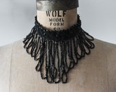 Antique Victorian Era Beaded Choker, Victorian Velvet and Jet Choker, Antique Choker Necklace, Vintage Beaded Necklace, Antique Necklace,