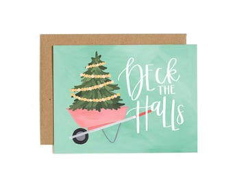 Deck the Halls Illustrated Card - Boxed Set of 8 // 1canoe2