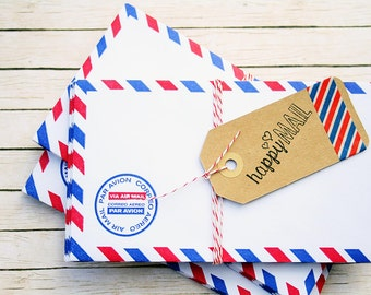1.25 Shipping! Vintage Inspired Airmail Envelopes - Set of 10