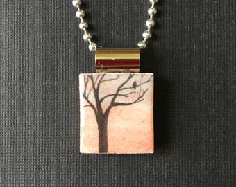 Watercolor tree handmade jewelry, recycled scrabble tile necklace, sunset tree pendant, handmade necklace, tree on scrabble tile pendant