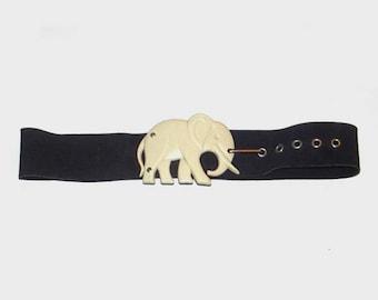 1980s belt / vintage 80s belt / suede leather / Elephant Black Suede Belt