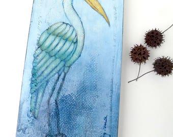 Blue bird III original mixed media artwork, home decor, collectible art on cradled wood panel 12 x 6, blue