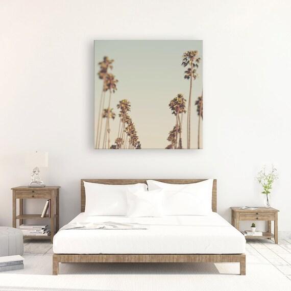 Large Palm Tree Wall Art Canvas Wrap Blue Green Home Decor