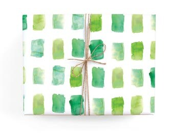 Green Watercolor Pattern Holiday Gift Wrap - Illustrated Winter, Christmas, Holiday Wrapping Paper