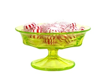 Glass Northwood Lime Green Pedestal Dish | Vintage Depression Glass | Bright Green Serving Bowl