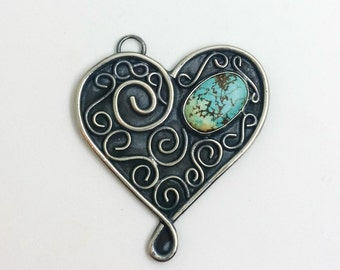 Turquoise and Nickel Silver Heart Swirl Pendant