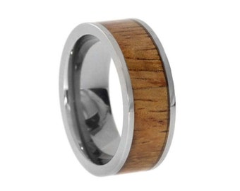 Mens Koa Wood Ring, Titanium Wedding Band or Commitment Ring, Ready to Ship, Signature Style
