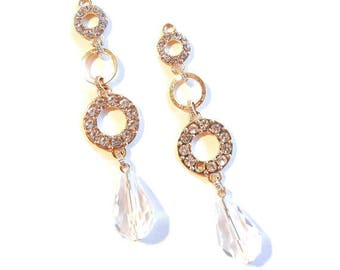Pair of Gold-tone Rhinestone Teardrop Chandelier Charms