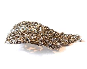 Rhinestone Filigree Curving Leaf Pendant Burnished Gold-tone