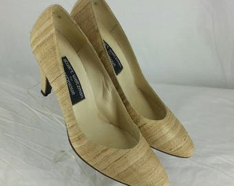Vintage 80s silk covered leather heels pumps Stuart Weitzman for Martinique