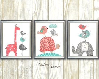 Baby Girl Nursery Decor kids wall art Elephant nursery Giraffe nursery Coral turquoise nursery wall art Turtle birds - Set of three prints