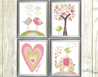 Baby Girl Nursery Art Print Baby Nursery Decor Kids Art Tree Elephant Birds Heart Tree Love Set of 4 prints