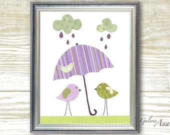 Kids wall art - nursery decor - art for children room - personalized - girl - baby art - Birds - Singing In The Rain print