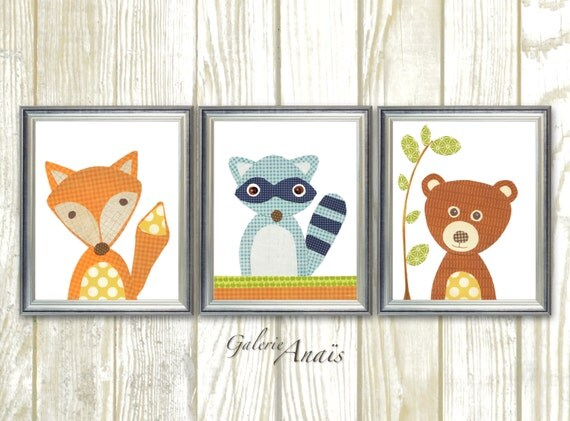 Woodland Nursery Decor Kids wall art nursery art print baby decor Playroom wall Art raccoon forest fox bears Set of three prints