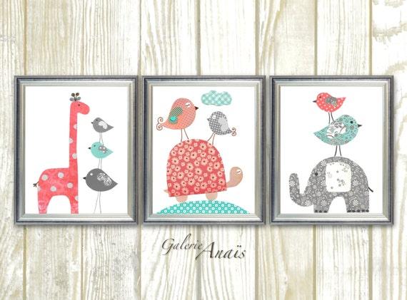 baby girl nursery decor kids wall art elephant nursery giraffe. Black Bedroom Furniture Sets. Home Design Ideas