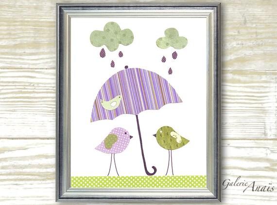Kids wall art - nursery decor - art for children room - personalized - girl - baby art - Birds - Singing In The Rain print