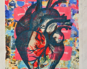 Beautiful ANATOMICAL EMBROIDERED HEART on a Unique collage Fabric Print.