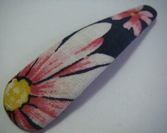 Hand made vintage cotton kimono(yukata) Jumbo Hair snap clip