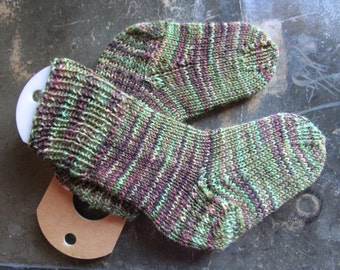 Hand Knit Socks, Greens and Grapes, child, size 2-4