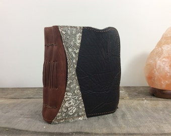 Rugged Leather Journal / One of a kind / Scrappy Leather journal / mixed media / artist book