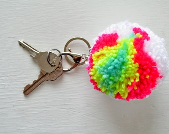 Large Yarn Pom Pom Keychain - The Neon Lights - Key Ring or Purse Clip