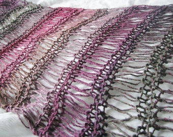 Gothic Pinks and Greens Hand Knitted Silk Wool Mix Drop Stitch Wraparound Shawl