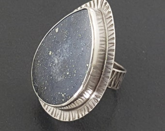 Pyrite in Agate Ring, size 8 ring, large ring, boho ring, big ring, statement ring, sterling silver, pyrite ring, agate ring, michele grady