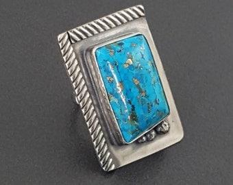 ON SALE---Turquoise Ring, boho ring, blue turquoise ring, bohemian style ring, boho ring, turquoise ring, turquoise, blue turquoise, size 8