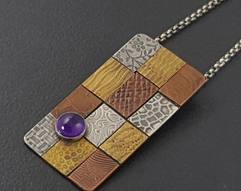 Amethyst Mixed Metal Necklace, mixed metal, amethyst, mixed metals, multi metal, copper brass sterling silver, purple amethyst,michele grady