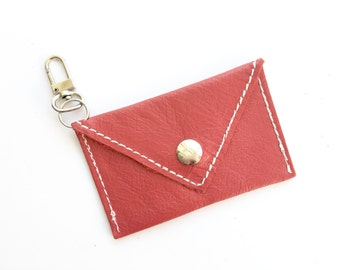 Mini Wallet Keychain - Genuine Leather- Red