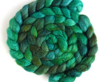 Blueface Leicester/ Tussah Silk Roving (Top) - Handpainted Spinning or Felting Fiber,  Dreaming in Green