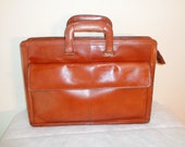 Forecast full grain leather slim  briefcase, court bag ,portfolio in deep rusty brown  vintage 70-s gorgeous clean condition