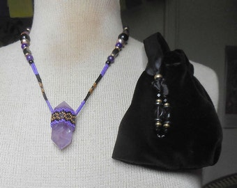 Beaded Double Terminated Amethyst Crystal Point Wand Necklace with Agate Hematite Semiprecious Stone Gemstone Beads Extra Large Size OlyTeam