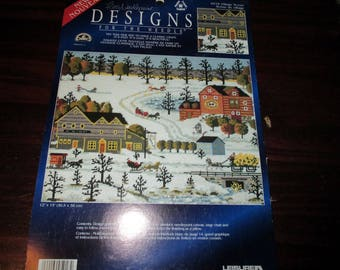 Needlepoint Canvas Village Scene Designs for the Needle 5918 Pillow Top or Wall Picture
