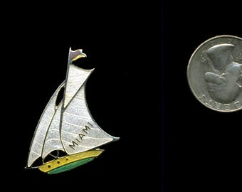 Vintage SAILBOAT MIAMI 1940s enaMEL ART DeCo Pin